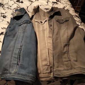 Bundle of 3 Stretchy Jean-look jackets with bling